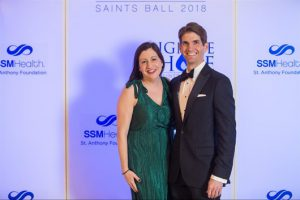 Smiling couple at Saints Ball 2018